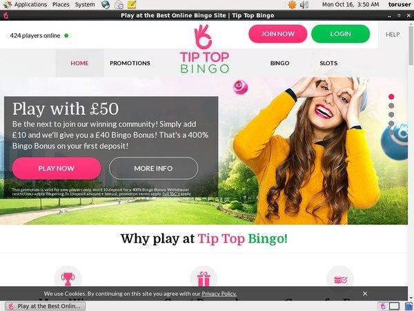 Tiptopbingo Deposit Page