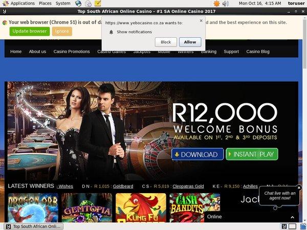 Yebo Casino игровые автоматы