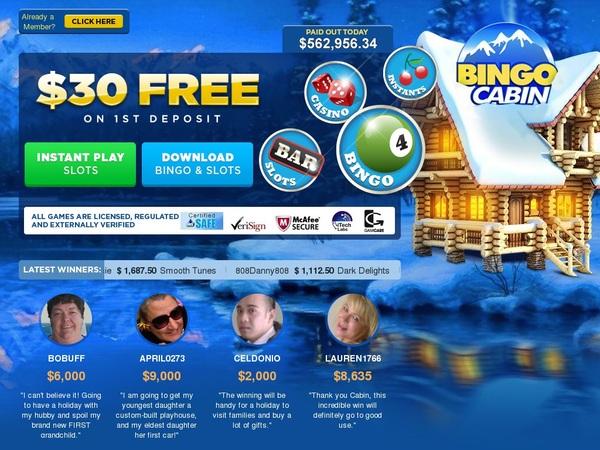 Bingo Cabin Welcome Offer