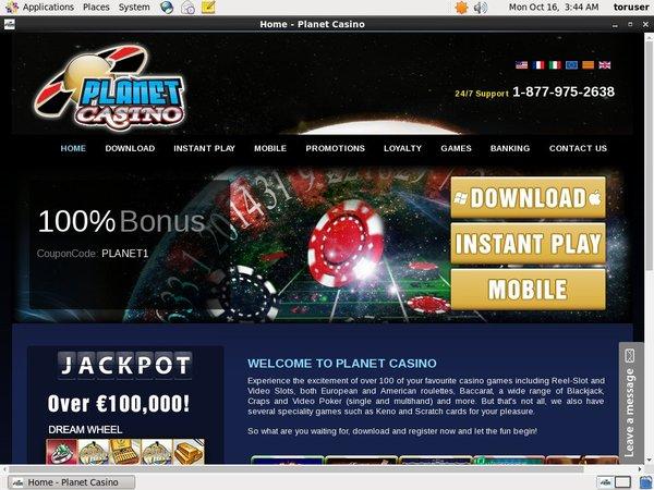 Planet Casino Registration Promo Code