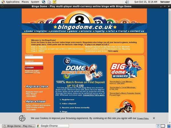 Bingo Dome New Customer Promo