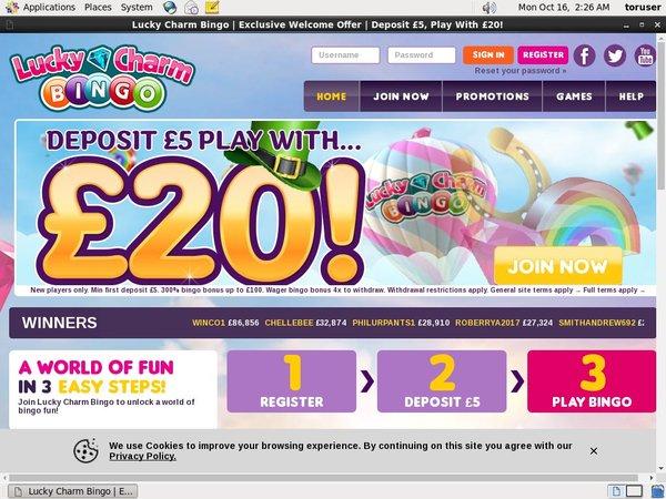 Live Lucky Charm Bingo Bonus