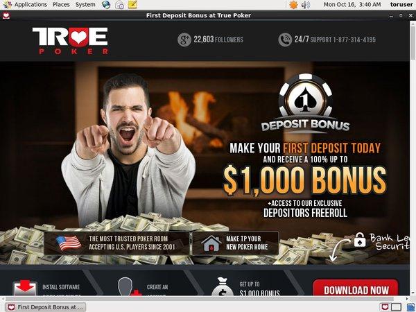 True Poker カジノ ボーナス